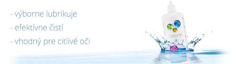 Roztok Gelone na kontaktné šošovky s hyaluronátom sodnym - výborne lubrikuje, efektívne čistí a je vhodný pre citlivé oči.