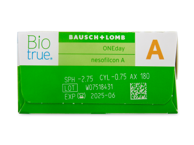 Biotrue ONEday for Astigmatism (30 šošoviek) - Náhľad parametrov šošoviek