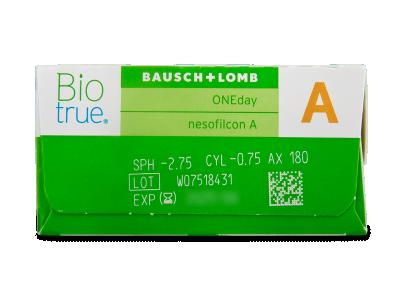 Biotrue ONEday for Astigmatism (90 šošoviek) - Náhľad parametrov šošoviek