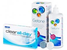 Výhodné balíčky šošoviek - Clear All-Day (6šošoviek) + roztok Gelone 360 ml