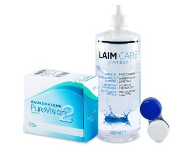 PureVision 2  (6 šošoviek) + roztok Laim-Care 400ml