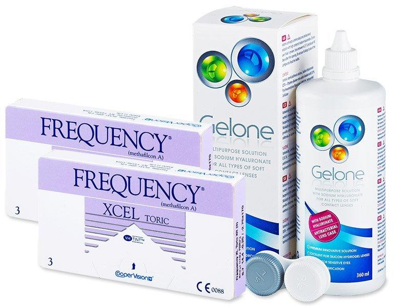 FREQUENCY XCEL TORIC XR (2x3 šošovky) +roztokGelone360ml - Výhodný balíček