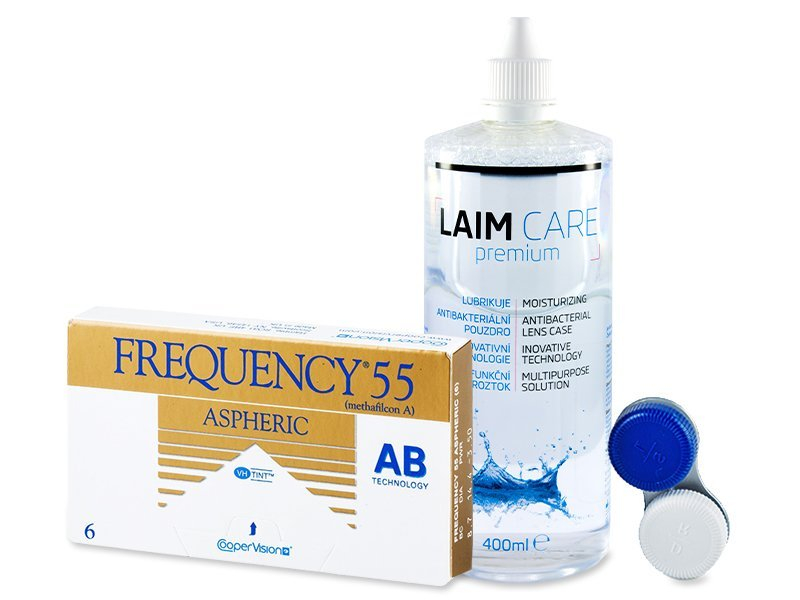 Frequency 55 Aspheric (6šošoviek) + roztok Laim-Care 400ml - Výhodný balíček