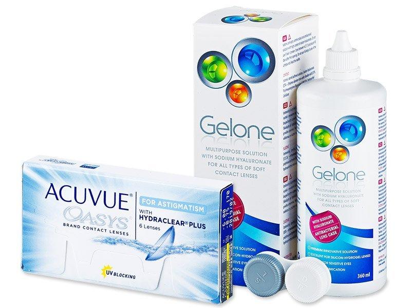 Acuvue Oasys for Astigmatism (6 šošoviek) +roztokGelone360ml - Výhodný balíček