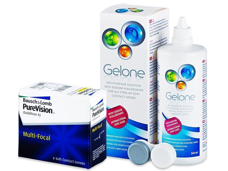PureVision Multi-Focal (6šošoviek) + roztok Gelone360ml - Výhodný balíček
