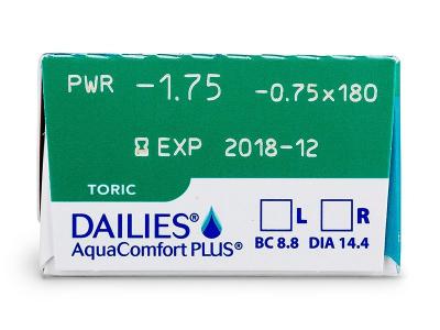 Dailies AquaComfort Plus Toric (30šošoviek) - Náhľad parametrov šošoviek