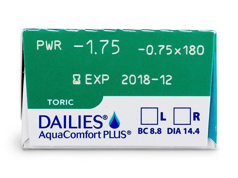 Náhľad parametrov šošoviek - Dailies AquaComfort Plus Toric (30šošoviek)