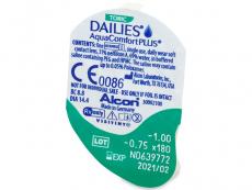 Dailies AquaComfort Plus Toric (90šošoviek) - Vzhľad blistra so šošovkou