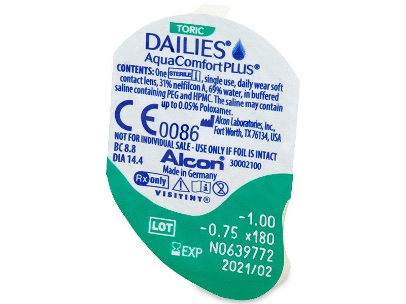 Vzhľad blistra so šošovkou - Dailies AquaComfort Plus Toric (90šošoviek)