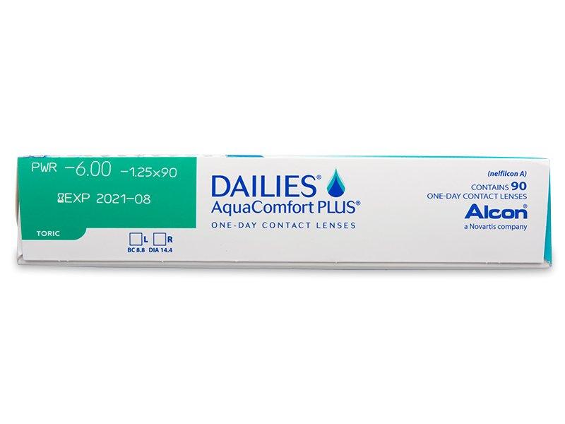 Náhľad parametrov šošoviek - Dailies AquaComfort Plus Toric (90šošoviek)