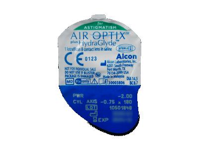 Air Optix plus HydraGlyde for Astigmatism (6šošoviek) - Vzhľad blistra so šošovkou