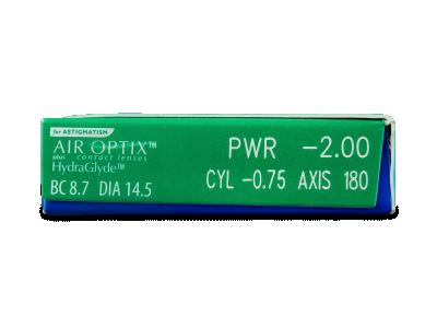 Air Optix plus HydraGlyde for Astigmatism (3 šošovky) - Náhľad parametrov šošoviek