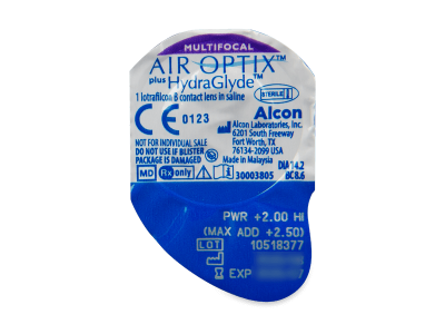 Air Optix plus HydraGlyde Multifocal (3 šošovky) - Vzhľad blistra so šošovkou