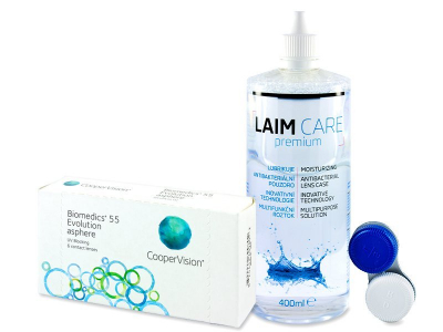 Biomedics 55 Evolution (6 šošoviek) + roztok Laim-Care 400 ml