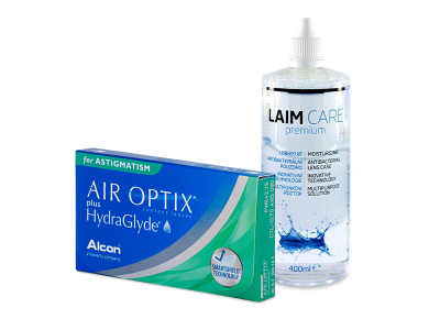 Air Optix plus HydraGlyde for Astigmatism (6 šošoviek) + roztok Laim-Care 400 ml