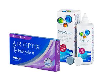 Air Optix plus HydraGlyde Multifocal (3 šošovky) + roztok Gelone 360 ml
