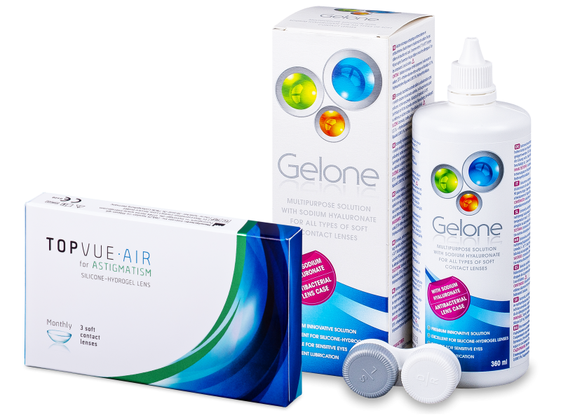 TopVue Air for Astigmatism (3 šošovky) + roztok Gelone 360 ml