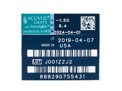 Acuvue Oasys with Transitions (6 šošoviek) - Náhľad parametrov šošoviek