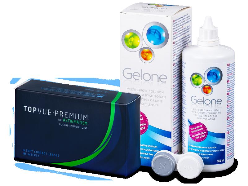 TopVue Premium for Astigmatism (6šošoviek) +roztok Gelone 360ml - Výhodný balíček