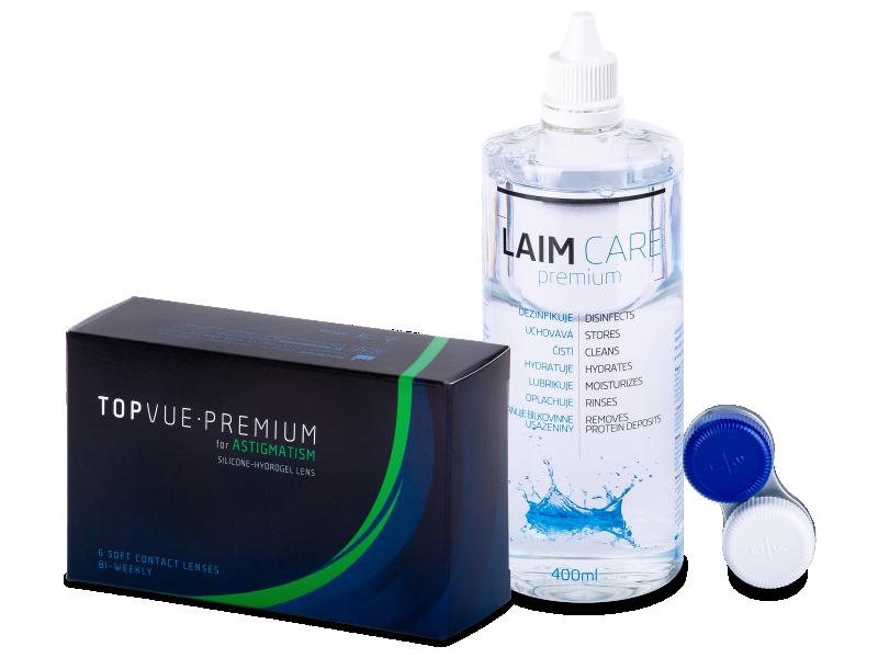 TopVue Premium for Astigmatism (6šošoviek) +roztok Laim-Care 400ml - Výhodný balíček