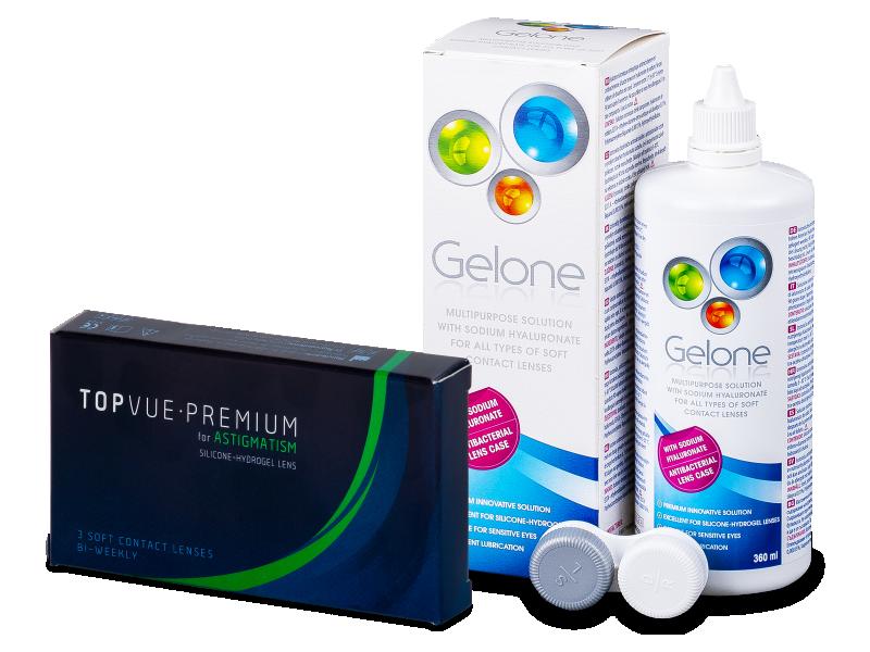TopVue Premium for Astigmatism (3šošovky) +roztok Gelone 360ml - Výhodný balíček