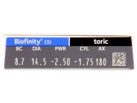 Biofinity Toric (3šošovky) - Náhľad parametrov šošoviek