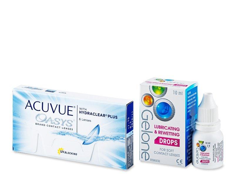 Acuvue Oasys (6 šošoviek) + očné kvapky Gelone