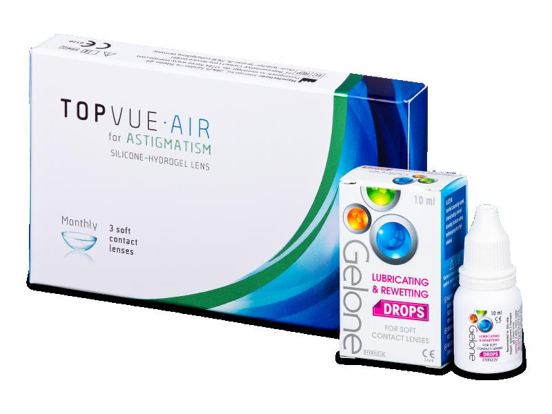TopVue Air for Astigmatism (3 šošovky) + očné kvapky Gelone - Výhodný balíček