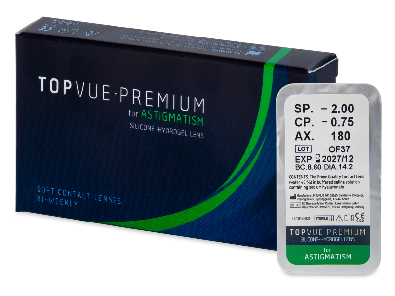 TopVue Premium for Astigmatism (1 šošovka) - Torické kontaktné šošovky