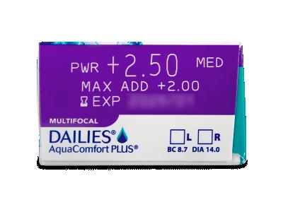 Dailies AquaComfort Plus Multifocal (90šošoviek) - Náhľad parametrov šošoviek