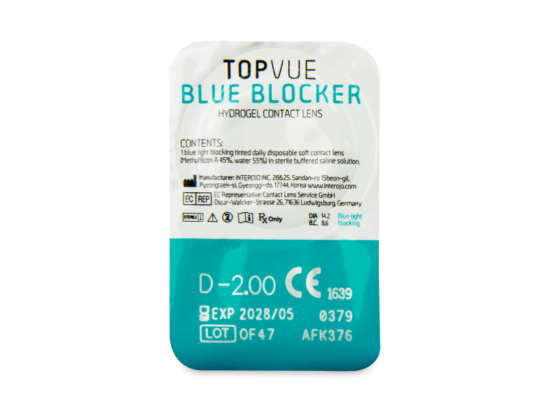TopVue Blue Blocker (30 šošoviek) - Vzhľad blistra so šošovkou