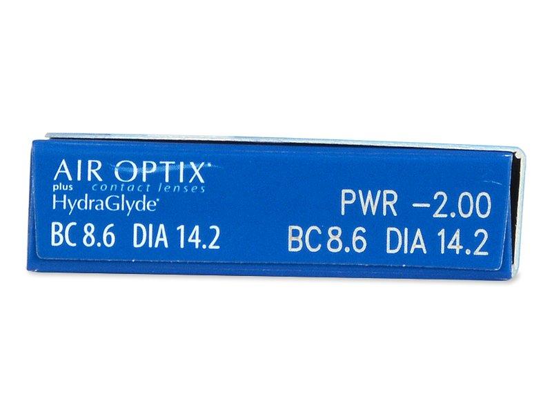 Náhľad parametrov šošoviek - Air Optix plus HydraGlyde (6šošoviek)