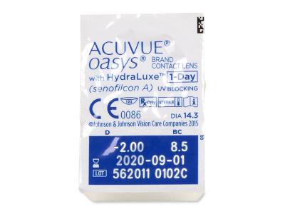 Acuvue Oasys 1-Day with Hydraluxe (30šošoviek) - Vzhľad blistra so šošovkou