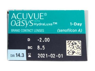 Acuvue Oasys 1-Day with Hydraluxe (30šošoviek) - Náhľad parametrov šošoviek