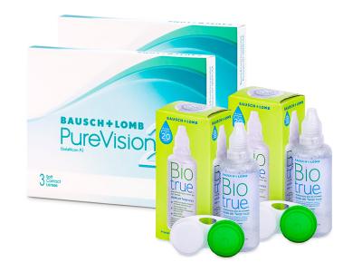 PureVision 2 (2x 3 šošovky) + roztok Biotrue 2x 60 ml ZADARMO