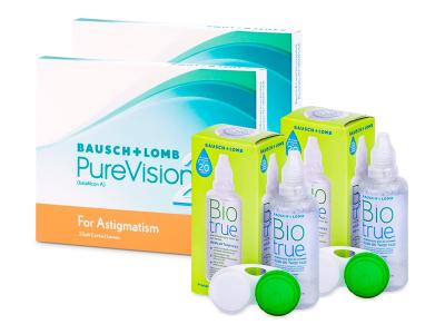 PureVision 2 for Astigmatism (2x 3 šošovky) + roztok Biotrue 2x 60 ml ZADARMO
