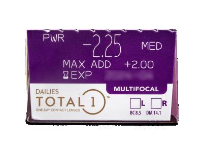 Dailies TOTAL1 Multifocal (30 šošoviek) - Náhľad parametrov šošoviek