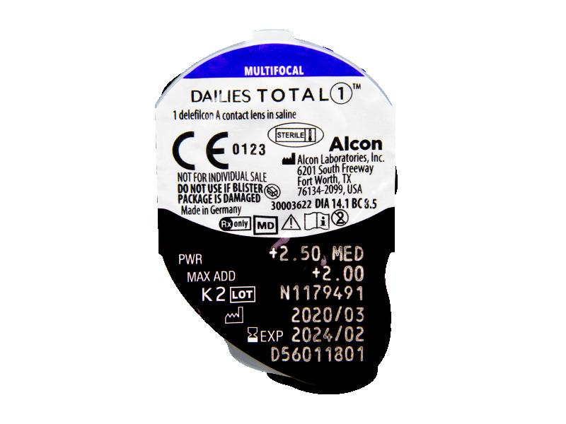 Dailies TOTAL1 Multifocal (90 šošoviek) - Vzhľad blistra so šošovkou