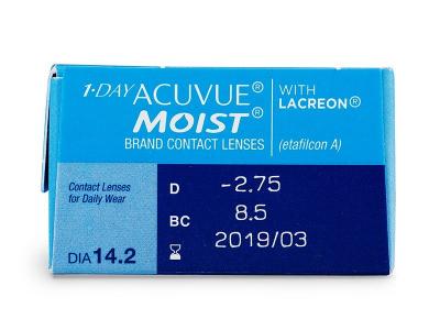 1 Day Acuvue Moist (30šošoviek) - Náhľad parametrov šošoviek