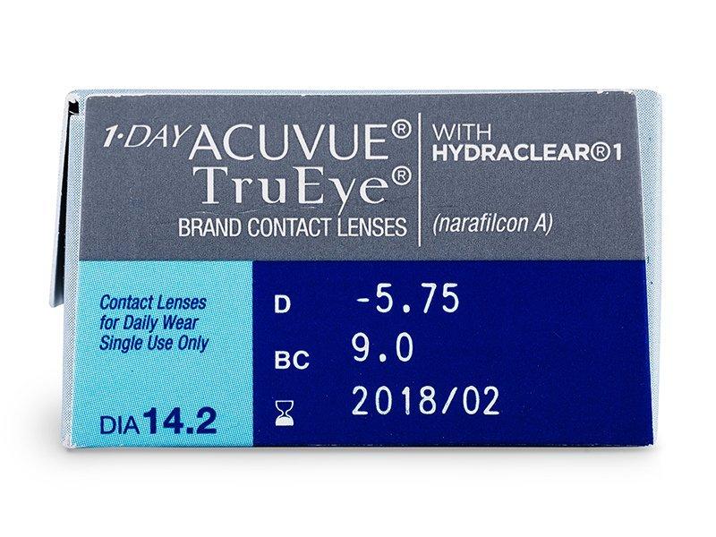 1 Day Acuvue TruEye (30šošoviek) - Náhľad parametrov šošoviek