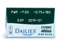 Focus Dailies Toric (30šošoviek) - Náhľad parametrov šošoviek