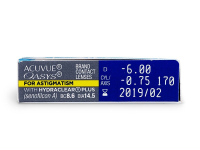 Acuvue Oasys for Astigmatism (6šošoviek) - Náhľad parametrov šošoviek