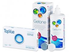 Výhodné balíčky šošoviek - TopVue Monthly (6šošoviek) + roztok Gelone 360 ml