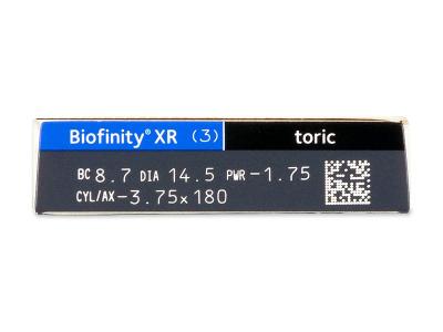 Biofinity XR Toric (3 šošovky) - Náhľad parametrov šošoviek