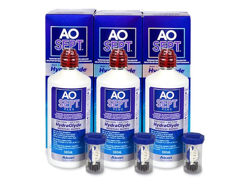 AO SEPT PLUS HydraGlyde 3 x 360ml  - Výhodné trojbalenie roztoku - Alcon